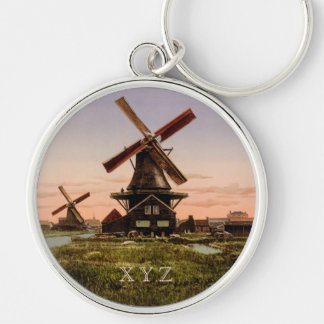 Vintage Dutch Windmills custom key chain
