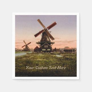 Vintage Dutch Windmills custom paper napkins