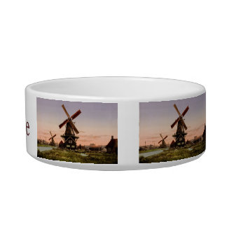 Vintage Dutch Windmills custom pet bowls