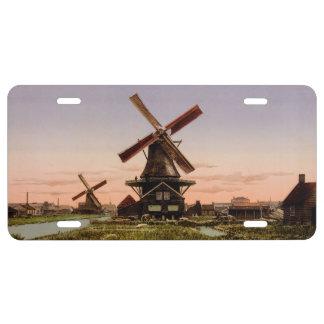 Vintage Dutch Windmills license plate