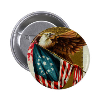 Vintage Eagle and Flag Round Button
