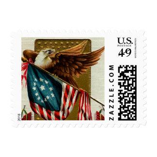 Vintage Eagle and Flag Small Postage
