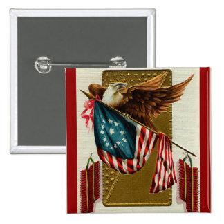 Vintage Eagle and Flag Square Button
