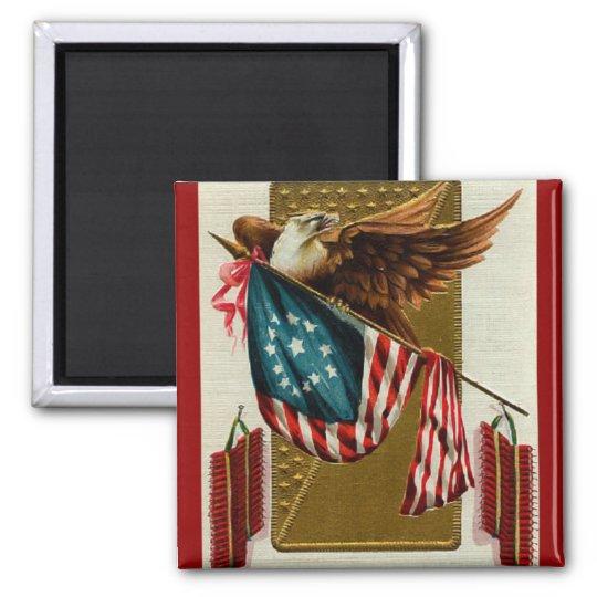 Vintage Eagle and Flag Square Magnet