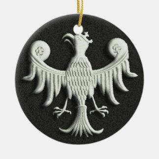 Vintage Eagle blanco polaco Adorno Navideño Redondo De Cerámica