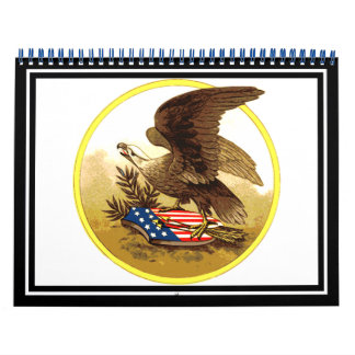 Vintage Eagle calvo americano Calendario De Pared