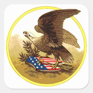 Vintage Eagle calvo americano w/Shield Calcomanía Cuadradas Personalizadas