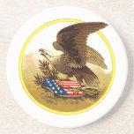 Vintage Eagle calvo americano w/Shield Posavasos Cerveza