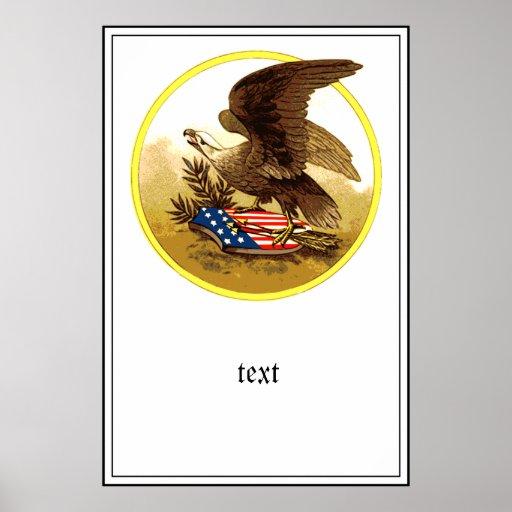 Vintage Eagle calvo americano w/Shield Poster