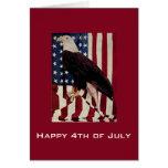 Vintage Eagle calvo el bandera americana el 4 de j Felicitacion