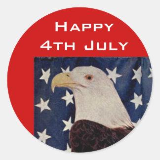 Vintage Eagle calvo el bandera americana el 4 de Pegatina Redonda