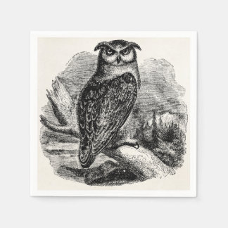 Vintage Eagle Owl Bird - Birds Template Blank Paper Napkin