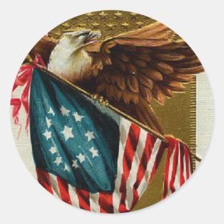 Vintage Eagle y pegatina de la bandera