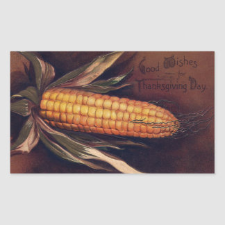 Vintage Ear of Corn Thanksgiving Rectangular Sticker