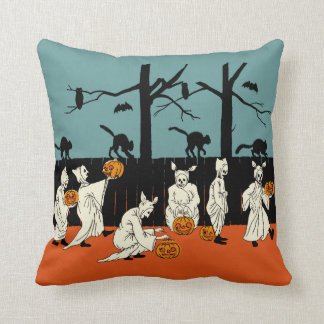 "Vintage Early 1900s Halloween ""Spooks On Parade"" Throw Pillows"