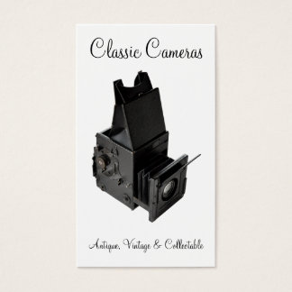 Vintage early reflex plate camera business card