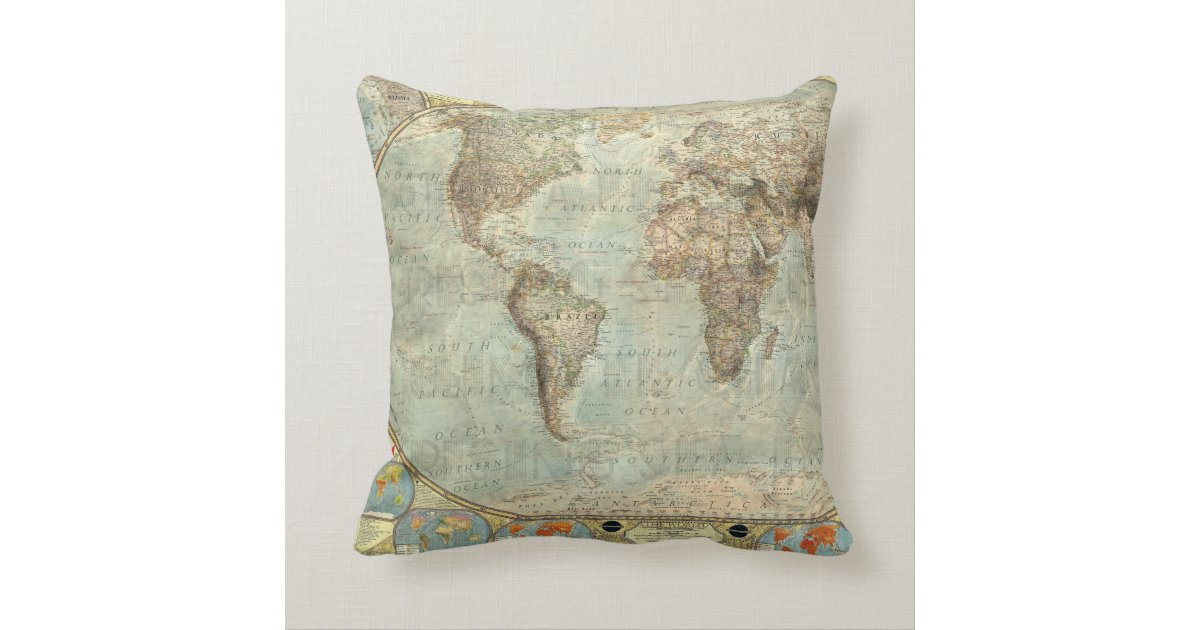 Vintage earth globe map print throw pillow zazzle 01794 area code