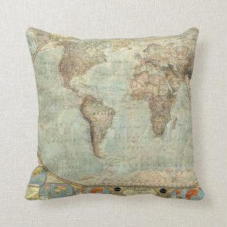 Vintage Earth Globe Map Print Throw Pillow