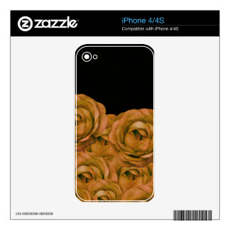 Vintage Earth Tone Roses Grunge Decals For iPhone 4S