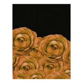 Vintage Earth Tone Roses Grunge Letterhead