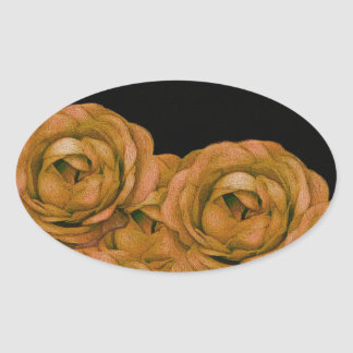 Vintage Earth Tone Roses Grunge Oval Sticker