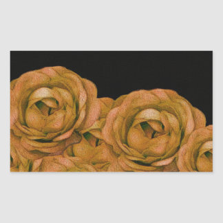 Vintage Earth Tone Roses Grunge Rectangular Sticker