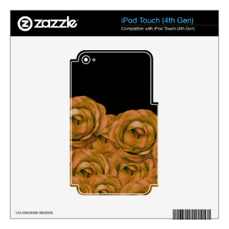 Vintage Earth Tone Roses Grunge Skin For iPod Touch 4G
