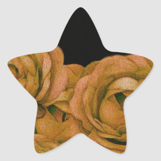Vintage Earth Tone Roses Grunge Star Sticker