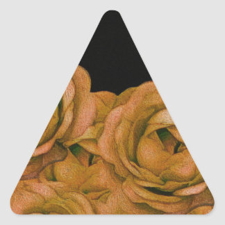 Vintage Earth Tone Roses Grunge Triangle Sticker