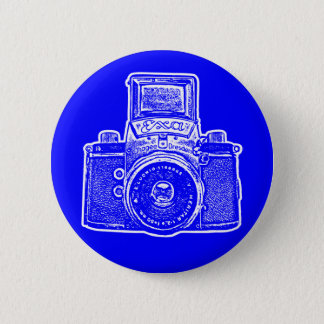 Vintage East German Camera II - Blue Pinback Button