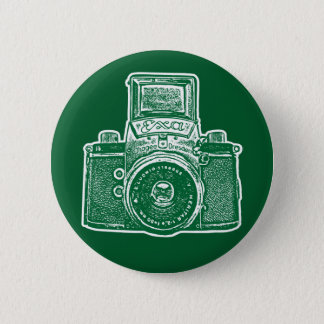 Vintage East German Camera II - Forest Green Pinback Button