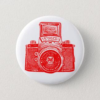 Vintage East German Camera - Red Pinback Button