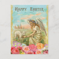 Vintage Easter. Angel and Lamb. Holiday Postcard