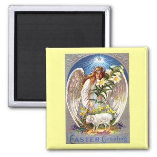 Vintage Easter Angel and Lamb Magnet