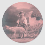 Vintage *Easter Angel and Lamb* Round Stickers