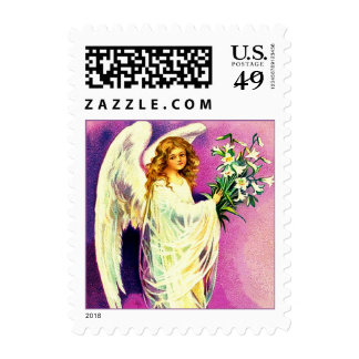 Vintage Easter Angel. Christian Postage Stamps