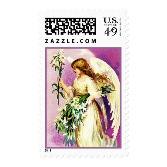 Vintage Easter Angel. Christian Postage Stamps