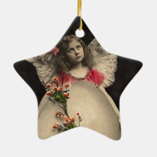 Vintage easter angel girl with egg picture ceramic ornament