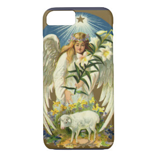Vintage Easter Angel, Lamb, Lily Flower, Gold Star iPhone 7 Case