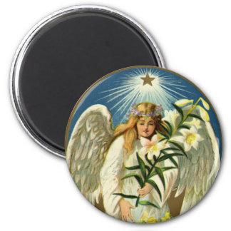 Vintage Easter Angel, Lamb, Lily Flower, Gold Star Magnet