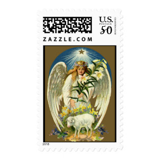 Vintage Easter Angel, Lamb, Lily Flower, Gold Star Postage