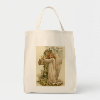 Vintage Easter Angel Organic Grocery Tote Canvas Bags