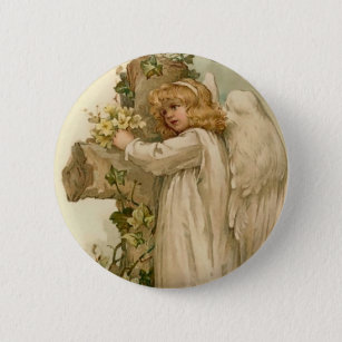 Round easter gifts on zazzle vintage easter angel round button negle Images