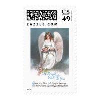 Vintage Easter Angel Weaving Flower Garland Postage Stamps