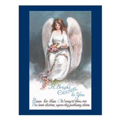 Vintage Easter Angel Weaving Flower Garland Postcards