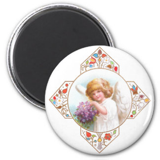 Vintage Easter Angel with Flowers Magnet