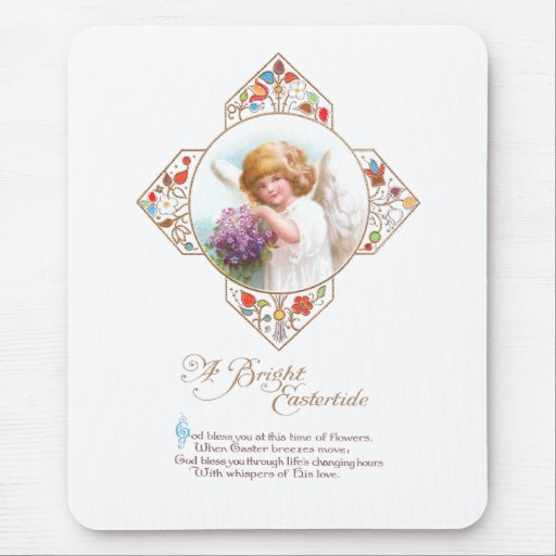 Vintage Easter Angel with Flowers Mouse Pad