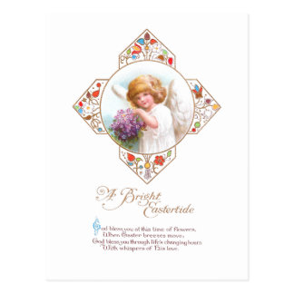 Vintage Easter Angel with Flowers Postcard