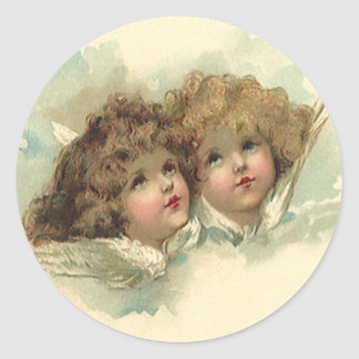 Vintage Easter, Angelic Angels Clouds Heaven Classic Round Sticker
