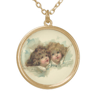 Vintage Easter, Angelic Angels Clouds in Heaven Gold Plated Necklace